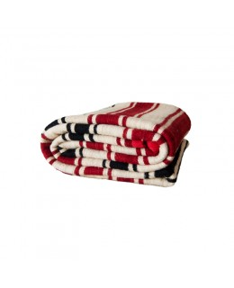 Beige wool blanket with red...