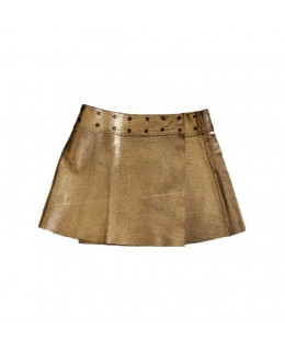 Golden leather skirt.