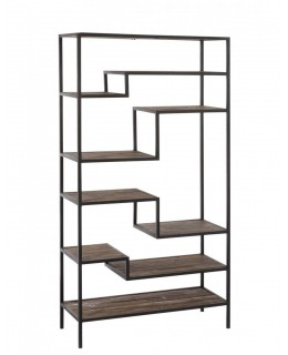 Pine and wrought iron bookcase