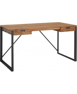 Pine and wrought iron desk...