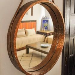 Miroir suspendu rond en...