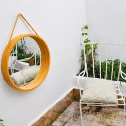 Round hanging mirror in...