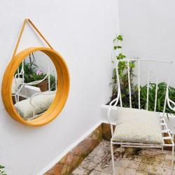 Round hanging mirror in...