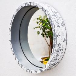 Round wooden mirror painted