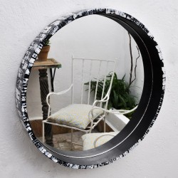 Miroir rond en bois peint
