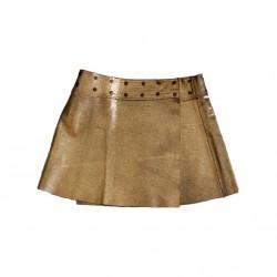 Golden leather skirt.