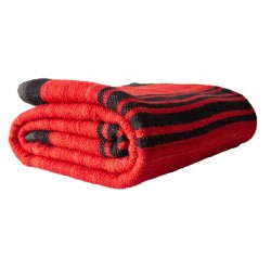 Red wool blanket with black...