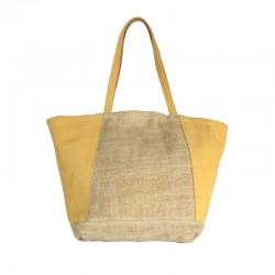 Handbag in burlap and...