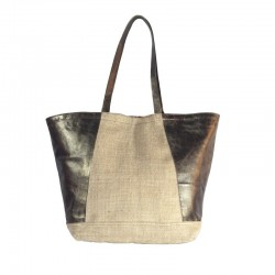 Handbag in burlap and leather