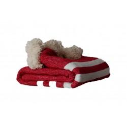 Manta en lana roja y rayas...