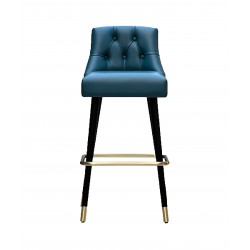 Stool in metal and leather