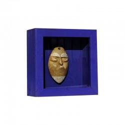 Cadre en bois, motif masque
