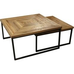 Table basse en pin et fer...