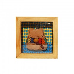 Wooden frame, leather bag...